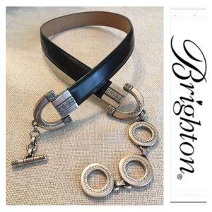 Brighton Adjustable Round Link Leather Belt Small